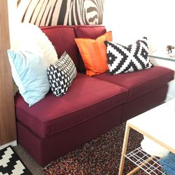 """These 2 KIVIK one-seaters were combined to make a couch for this small space. """"I didn't have a couch before,"""" Mansaray said. Now Mansaray has seating for her guests, and when we met her minutes after the reveal, she was already planning a get-together to"""