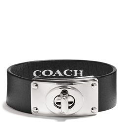"""<a href=""""http://f.curbed.cc/f/Coach_111913_Turnlock"""">Small Leather Turnlock Plaque Bracelet</a>, $88"""