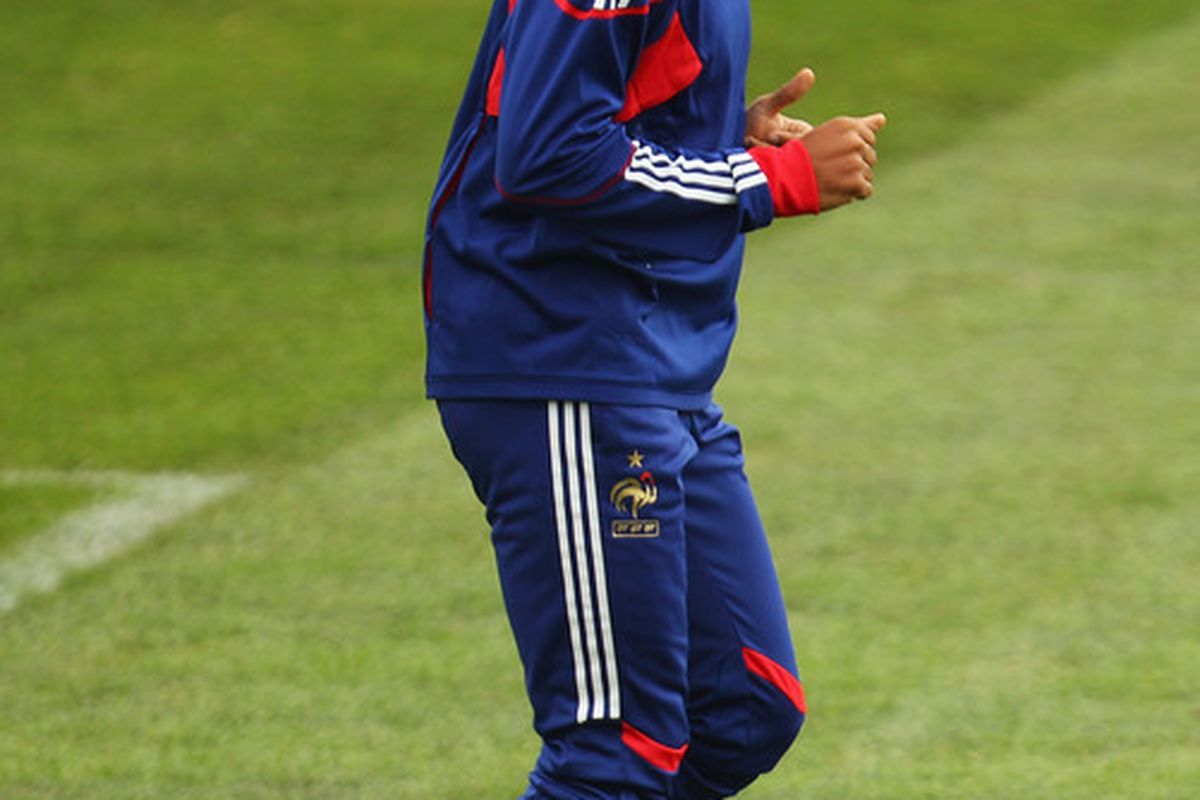 KNYSNA, SOUTH AFRICA - JUNE 21:  Thierry Henry runs at a France training session during the FIFA 2010 World Cup at Pezula Field of Dreams on June 21, 2010 in Knysna, South Africa.  (Photo by Mark Kolbe/Getty Images)