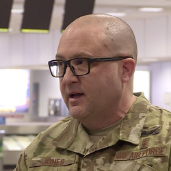 Hill Air Force Base medic Jimmy Jones discusses traveling Sunday, April 5, 2020, to help New York City after being called up to fight COVID-19.
