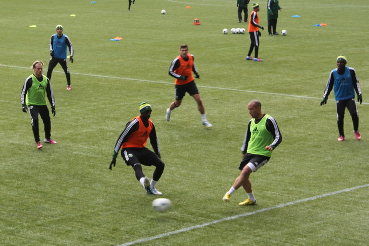 Trialist Mikael Silvestre is closed down by Futty Danson in Timbers' practice. 1/22/13