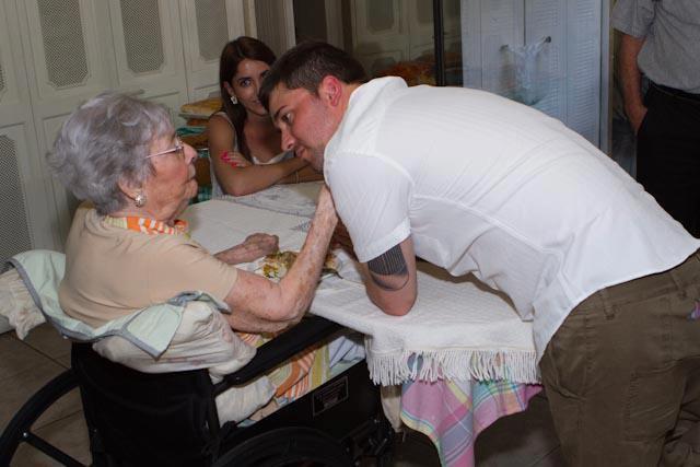Adam Brick with his grandmother