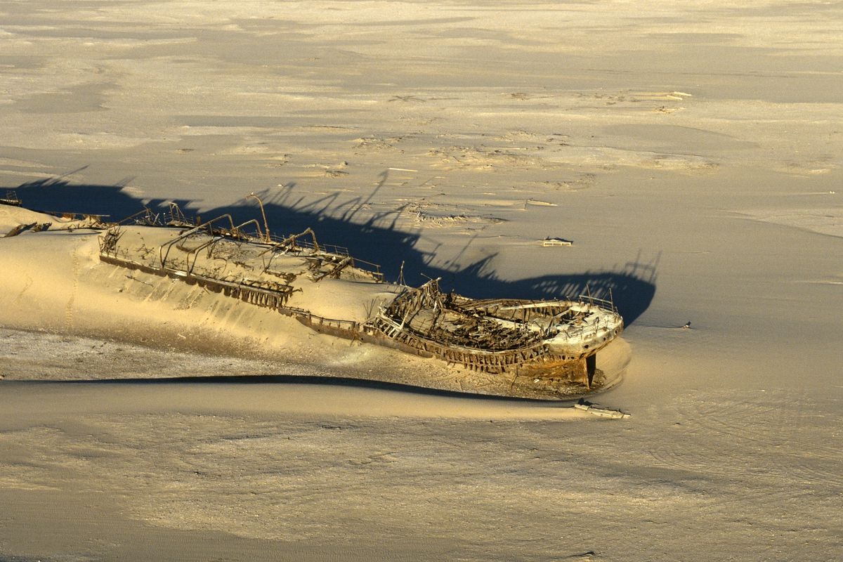 Shipwreck Ruins in Desert, Conception Bay, Namibia, Africa