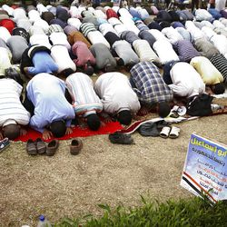 Followers of Egyptian Muslim cleric and a former candidate for the Egyptian presidency Hazem Abu Ismail pray before continuing their protest regarding the disqualification of their leader in the upcoming Egyptian presidential election.  Cairo, Egypt, Wednesday, April. 18, 2012. (AP Photo/Fredrik Persson)