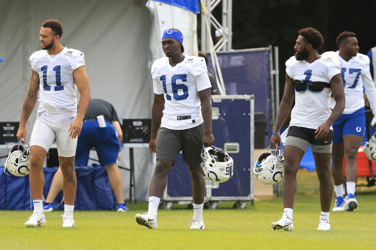 Michael Pittman #11, Ashton Dulin #16 and Parris Campbell #1 of the Indianapolis Colts walk onto the field before the Indianapolis Colts Training Camp at Grand Park on July 30, 2021 in Westfield, Indiana.