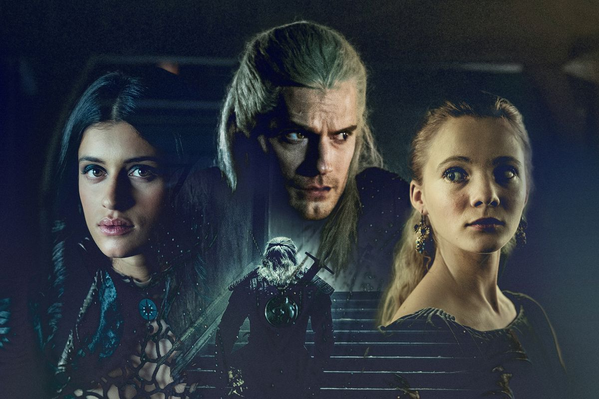 a composite of Yennefer, Geralt, and Ciri from Netflix's The Witcher