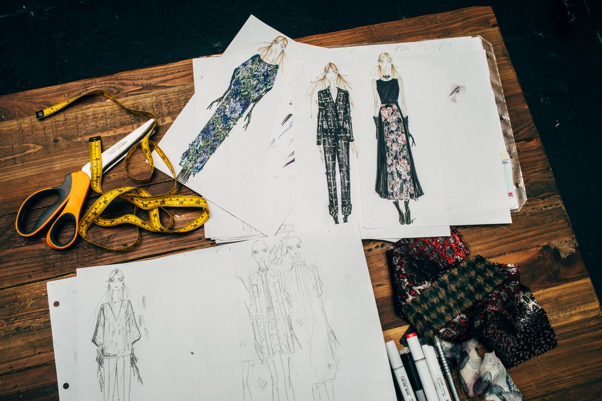 A few sample illustrations of Noyes's fall collection and their corresponding fabric swatches.