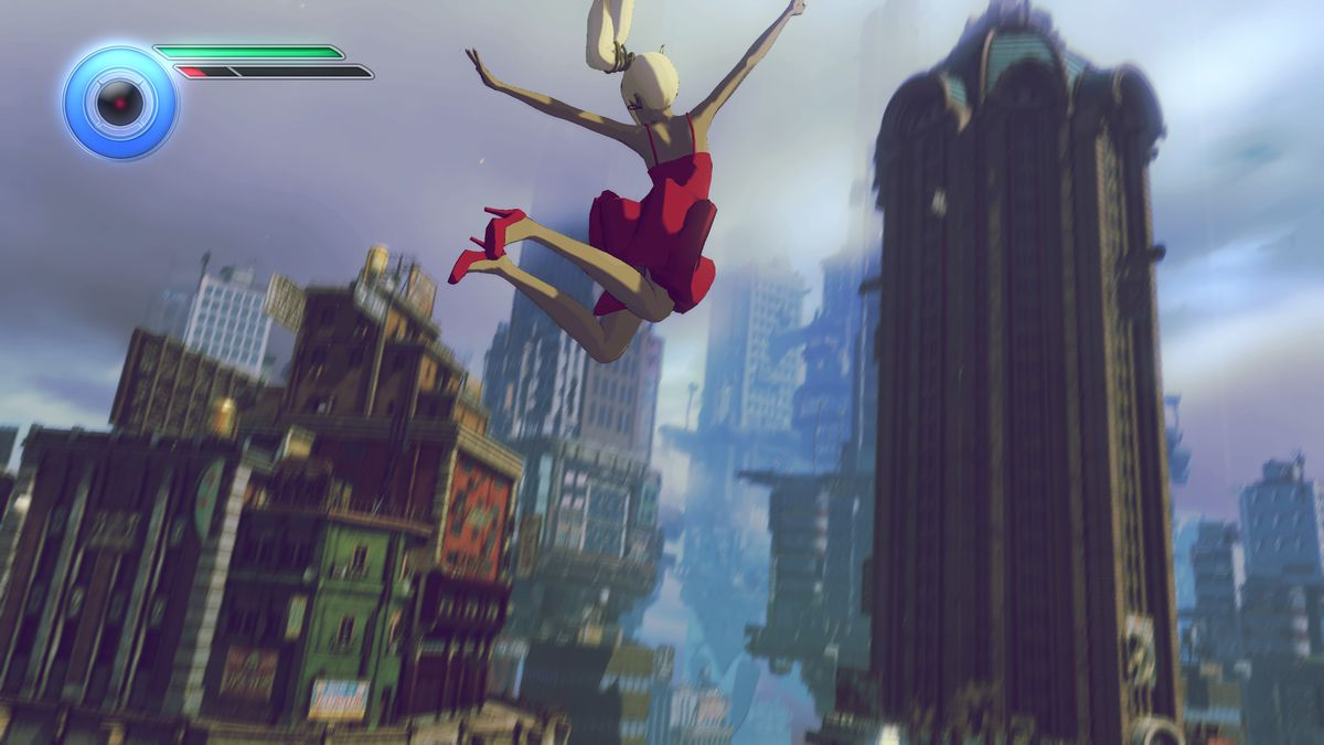 Gravity Rush 2 - leaping through the sky in a red dress