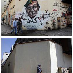 """This combo image of two photos taken in the same location; on March 22, 2012, above, an Egyptian couple walks by a mural depicting military ruler Field Marshal Hussein Tantawi on the left side of the face and ousted president Mubarak, right side with Arabic that reads, """"who assigned you did not die, No for gas export to Israel, the revolution continues"""", top;  a veiled Egyptian woman walks past a wall that was newly whitewashed during a cleanup campaign to erase old murals, in Tahrir Square, Cairo, Egypt, Wednesday, Sept. 19, 2012. Graffiti artists are repainting the walls in Mohammed Mahmoud Street, off Tahrir square, soon after municipal workers have whitewashed over a mural depicting the faces of victims of police brutality and violence over the past two years."""