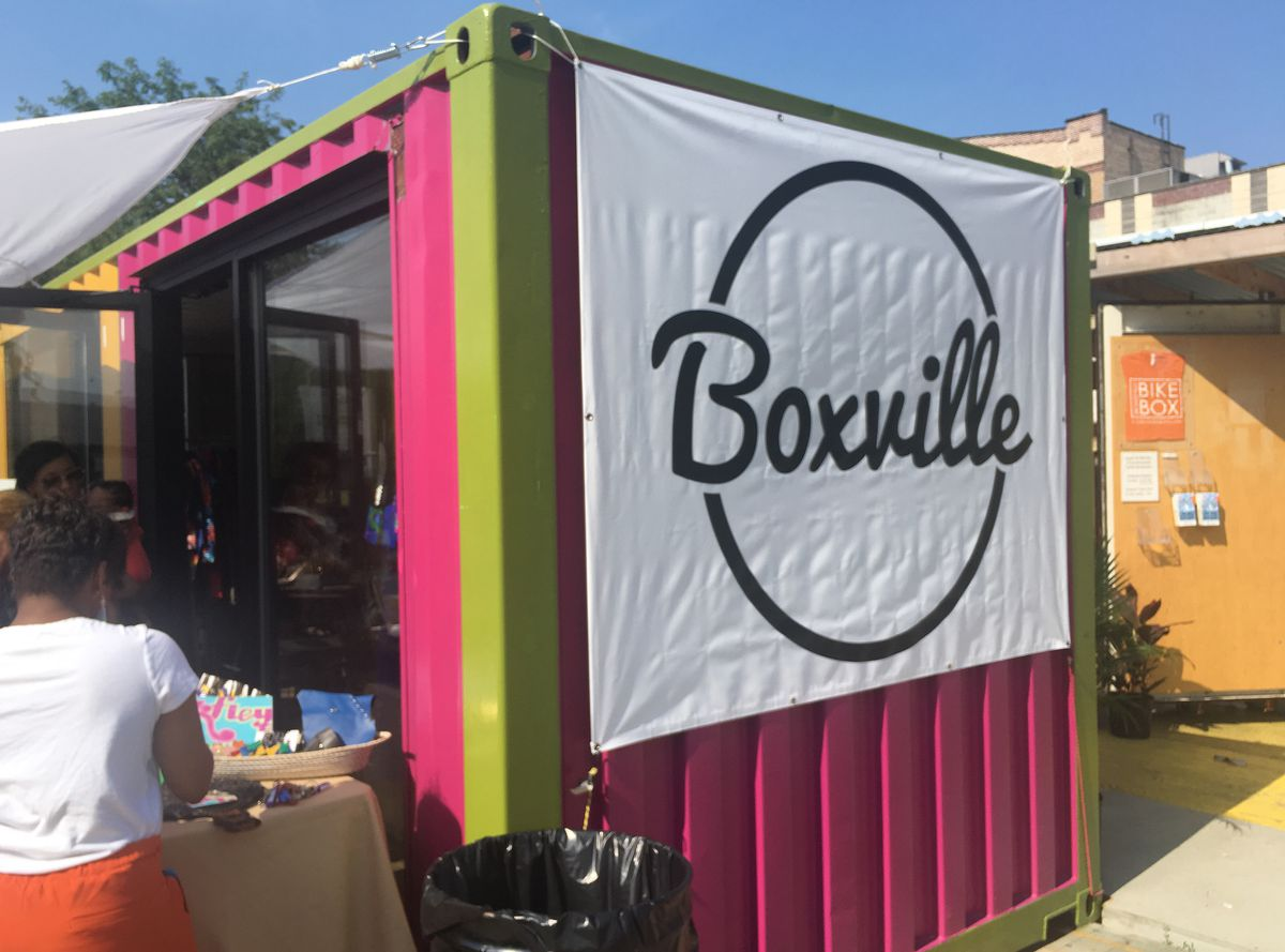 Boxville is made of  shipping containers painted in neon colors. It sits next to the Green Line's stop at 51st Street. | Amanda Svachula/Sun-Times