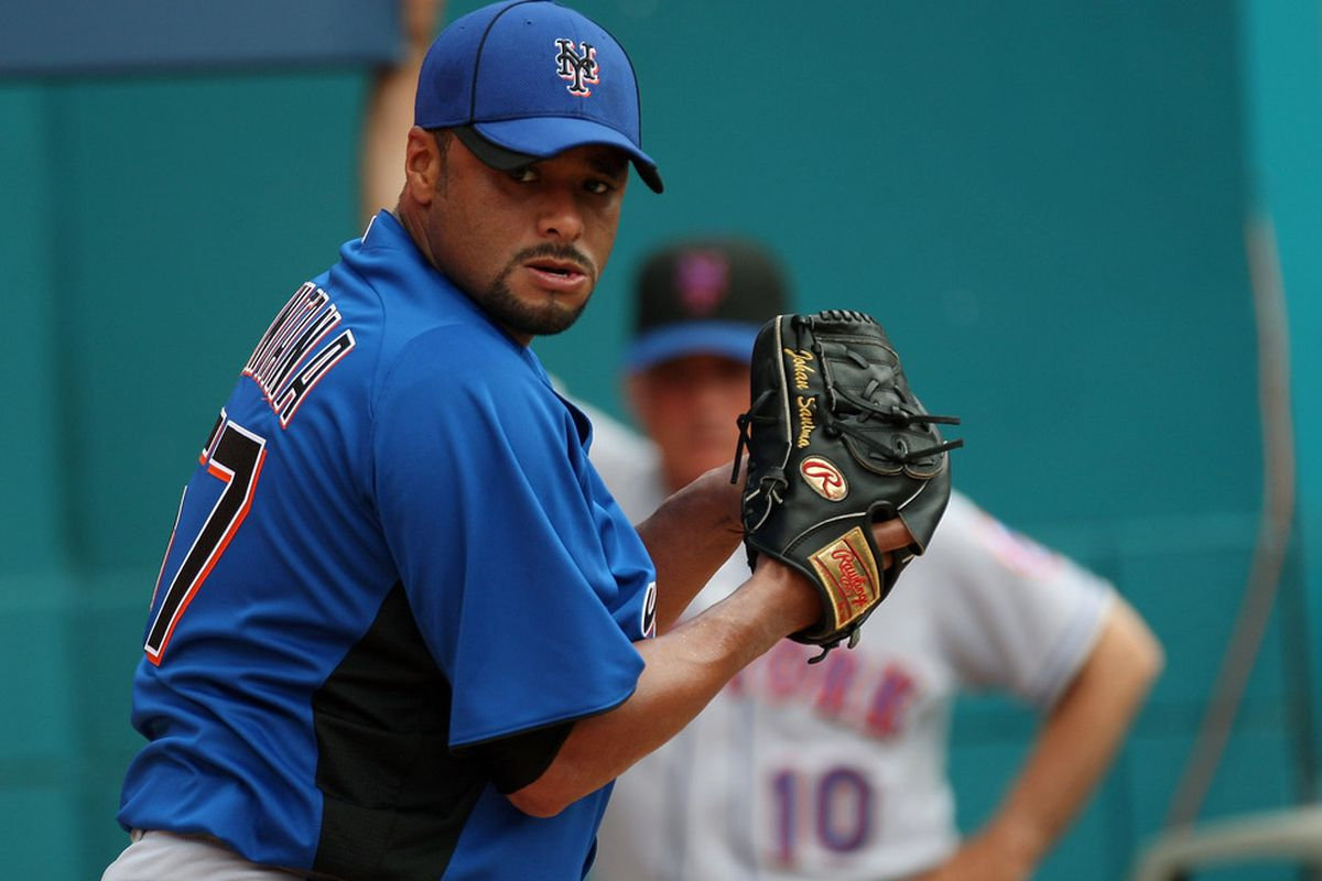 Johan Santana of the New York Mets should be OK for Spring Training, according to GM Sandy Alderson. (Photo by Sarah Glenn/Getty Images)