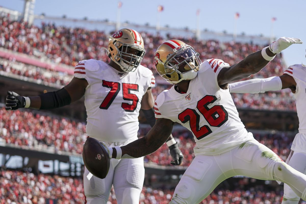 San Francisco 49ers running back Tevin Coleman celebrates after scoring a touchdown against the Carolina Panthers during the second quarter at Levi's Stadium.