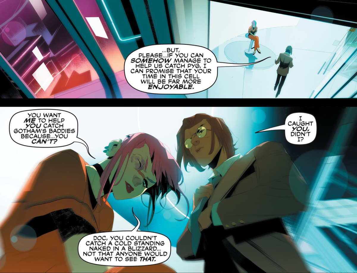 Jonathan Crane/Scarecrow asks an incarcerated Harley Quinn if she will help him track down Gotham's other villains, in Future State: Harley Quinn #1, DC Comics (2021).