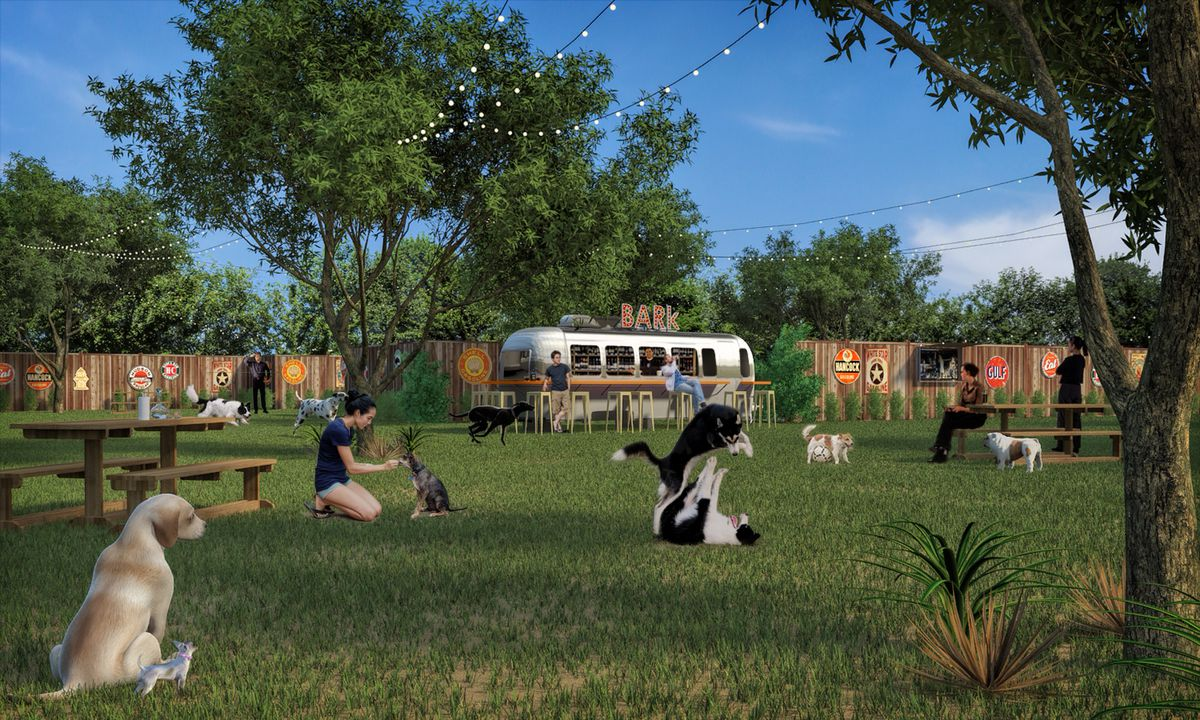 A silver airstream sits among a field full of dogs.