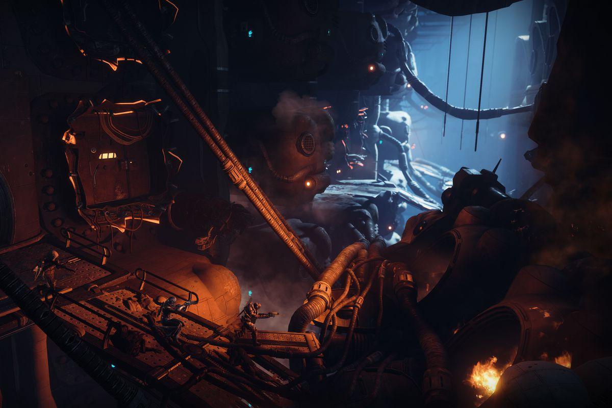 Destiny 2: Forsaken story - running across a metal bridge