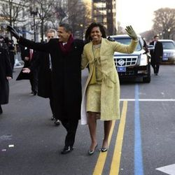 In <b>Isabel Toledo</b> at the Inaugural parade in Washington D.C. on January 20, 2009