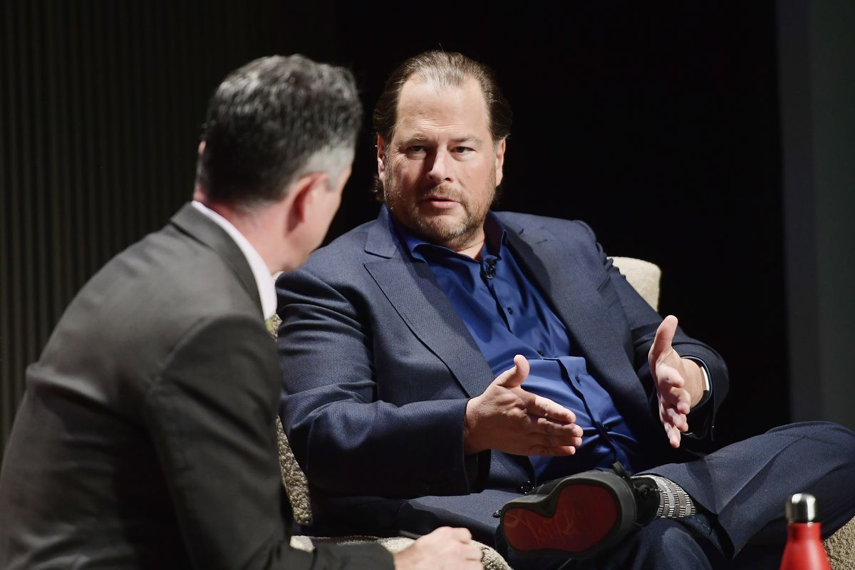 Salesforce chairman and co-CEO Marc Benioff seated onstage being interviewed