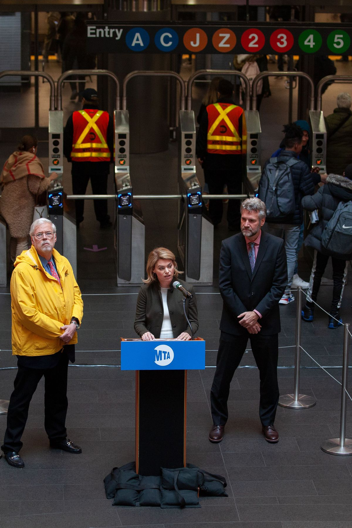 Sarah Feinberg speaks at the Fulton Transit Center about her appointment as interim New York City Transit president.