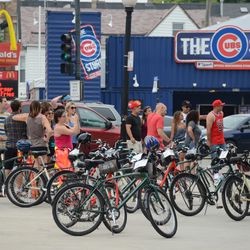 2:28 p.m. Bicycle tour group at Clark and Addison, in front of the ballpark -