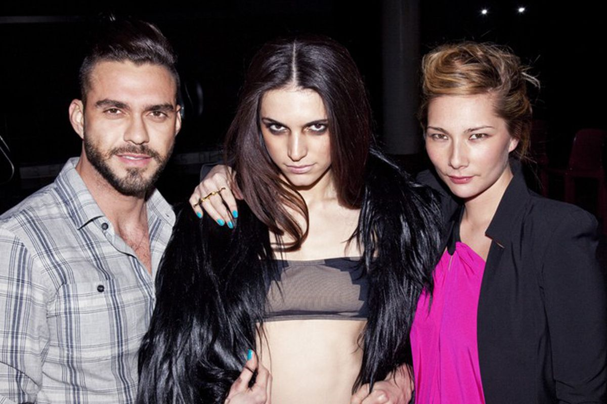 "Lorenzo Martone, a Nycked model and Jules Kim via <a href=""http://www.wwd.com/markets-news/lorenzo-martone-launches-swimwear-line-3099788#"">WWD</a>"