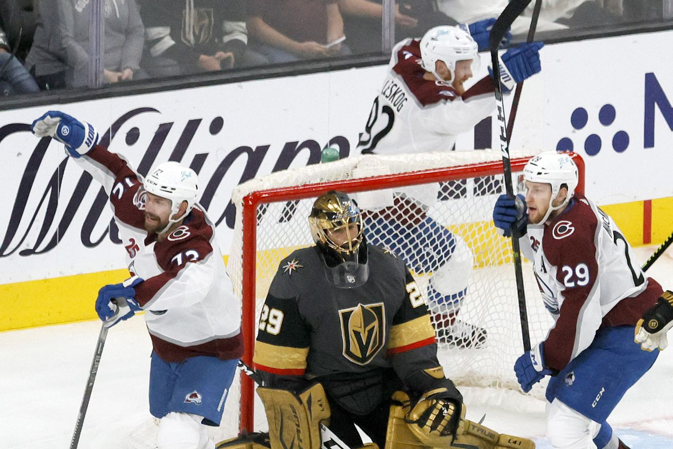 Joonas Donskoi #72, Gabriel Landeskog #92 and Nathan MacKinnon #29 of the Colorado Avalanche react after Mikko Rantanen #96 scored a goal against Marc-Andre Fleury #29 of the Vegas Golden Knights in Game 6 of the Second Round of the 2021 Stanley Cup Playoffs at T-Mobile Arena on June 10, 2021 in Las Vegas, Nevada.