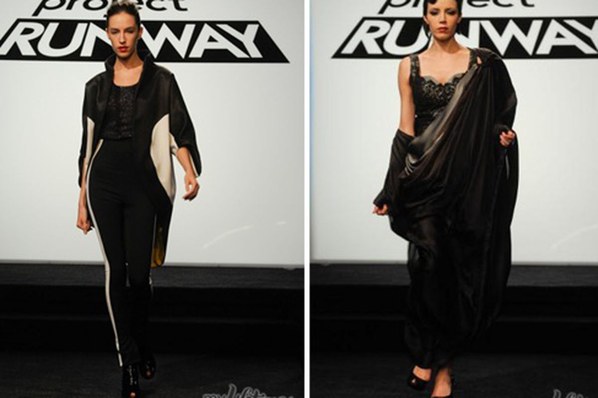 """Mila's dress and Ping's dress via <a href=""""http://www.mylifetime.com/shows/project-runway/rate-the-runway/season-7-episode-3#id=1"""">Lifetime</a>"""