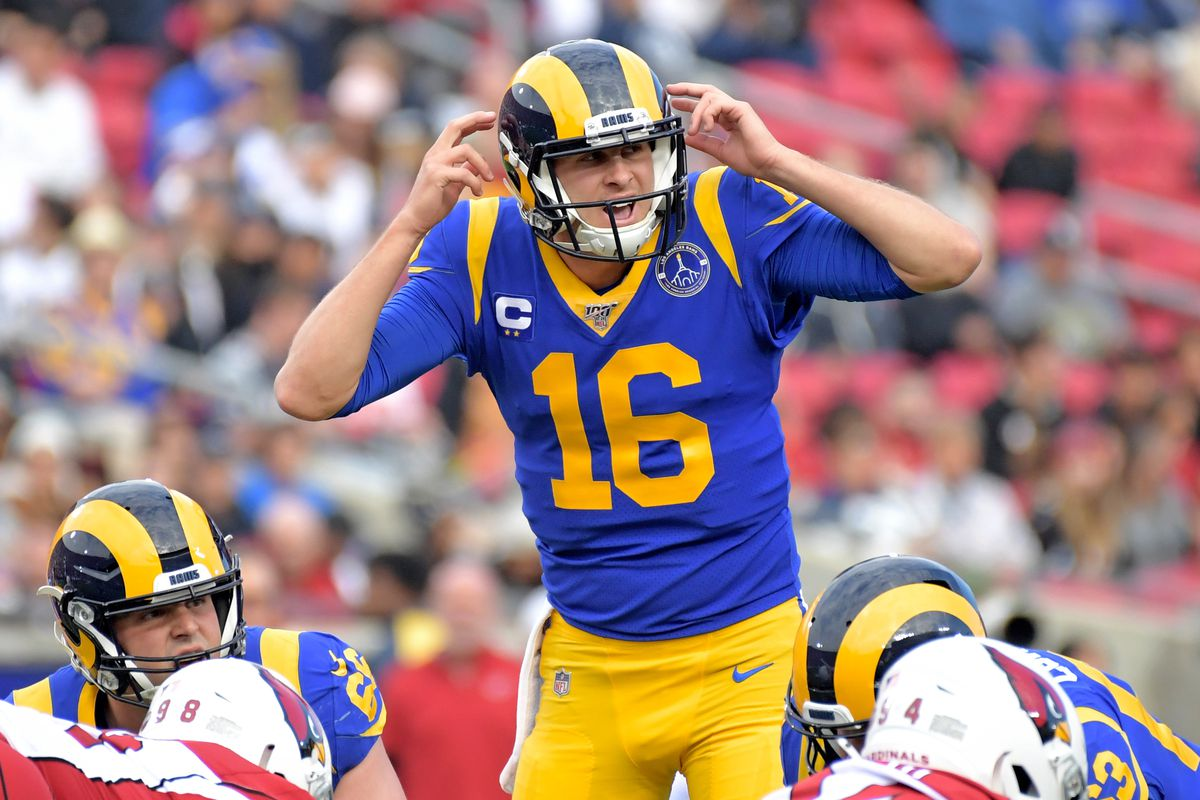 Los Angeles Rams quarterback Jared Goff reacts at the line of scrimmage Arizona Cardinals during the first quarter in the final Rams home game at Los Angeles Memorial Coliseum before moving to SoFi Stadium for the 2020 season