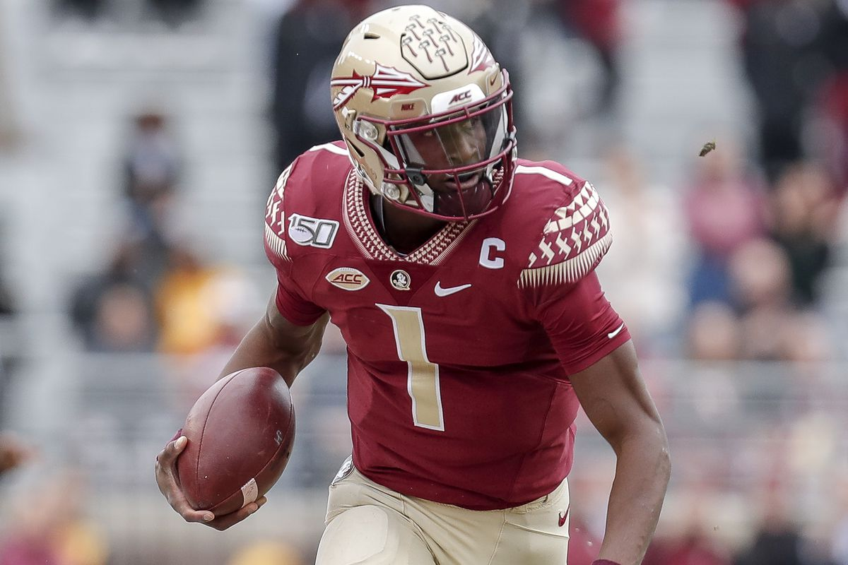 Quarterback James Blackman of the Florida State Seminoles on a running play during the game against the Alabama State Hornets at Doak Campbell Stadium on Bobby Bowden Field on November 16, 2019 in Tallahassee, Florida.