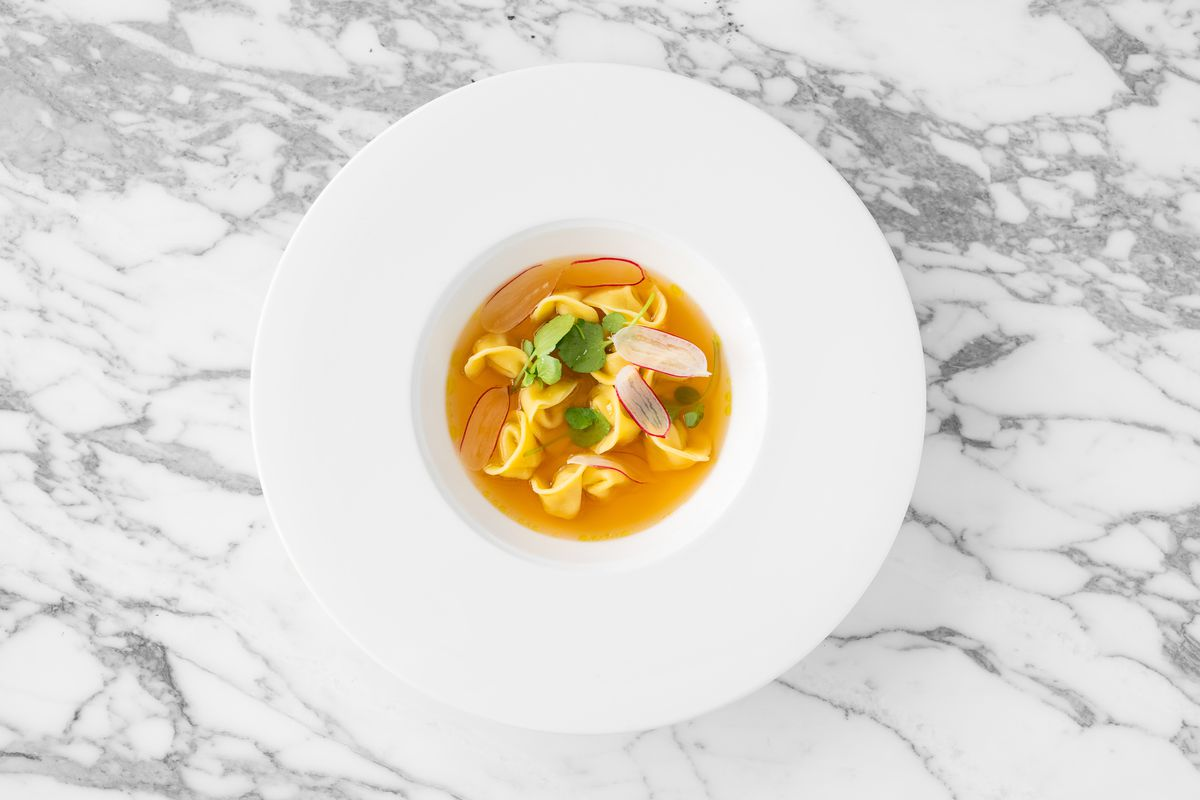 Tortellini in brodo at Emila, Quality Chop House owners' Mayfair Italian restaurant inside Bonham's Auction House will close as a result of the COVID-19 pandemic