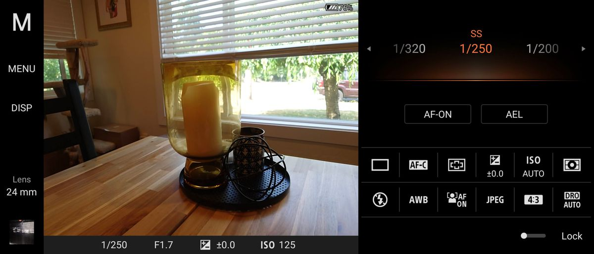 Switching to manual mode in the camera app brings up an Alpha-camera-esque interface.