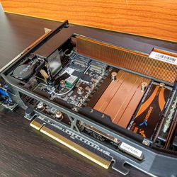 <em>Here's a look inside the new Compute Element, with its wide radiator and extra M.2 SSD slots.</em>
