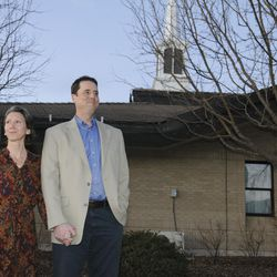 John Dehlin and his wife Margi Dehlin speak to supporters prior to his disciplinary council held by The Church of Jesus Christ of Latter-day Saints, Sunday, Feb. 8, 2015, in North Logan, Utah.
