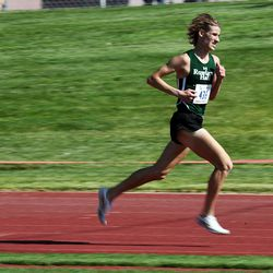 Carson Burian of Rowland Hall wins the 2A boys high school state cross-country championship race in Cedar City on Wednesday, Oct. 21, 2020.