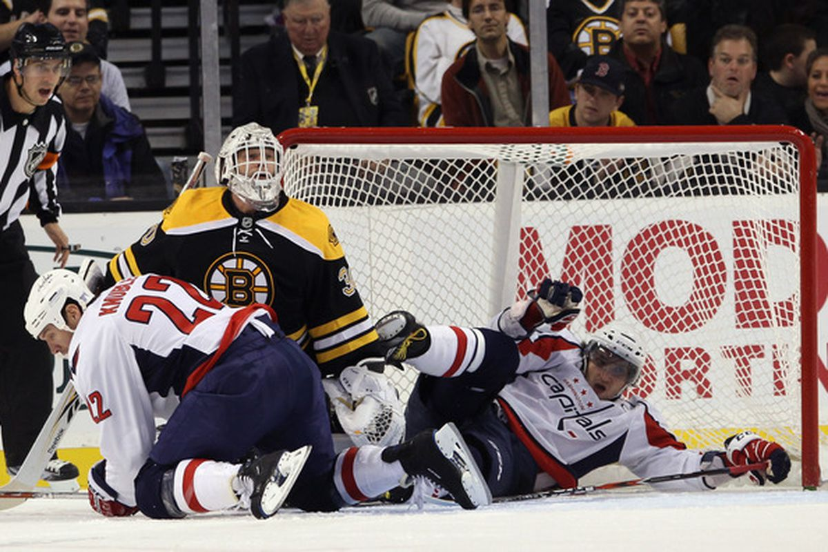 BOSTON - OCTOBER 21: Mike Knuble #22 and Alex Ovechkin #8 of the Washington Capitals crash into Tim Thomas #30 of the Boston Bruins at the TD Garden on October 21 2010 in Boston Massachusetts.  (Photo by Bruce Bennett/Getty Images)