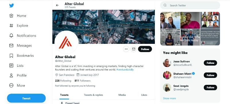 Alter Global Twitter Account on Monday, September 13, 2021.