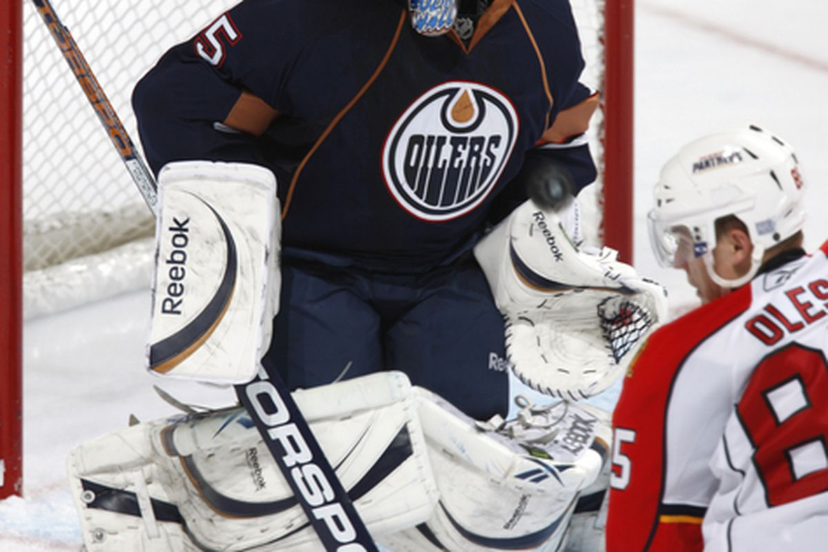 Fading or still going strong, Khabibulin has the Oilers' backing for starting goaltender.