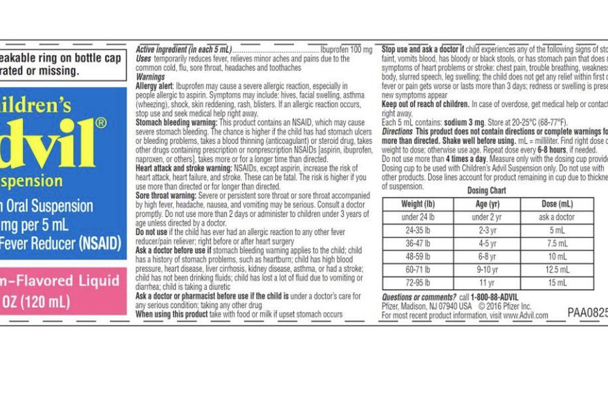 Children's Advil Suspension Bubble Gum flavor has been recalled due to overdose concerns for children who take the medicine.