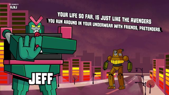 The JackBox Party Pack 5's Mad Verse City is about robot rap battles