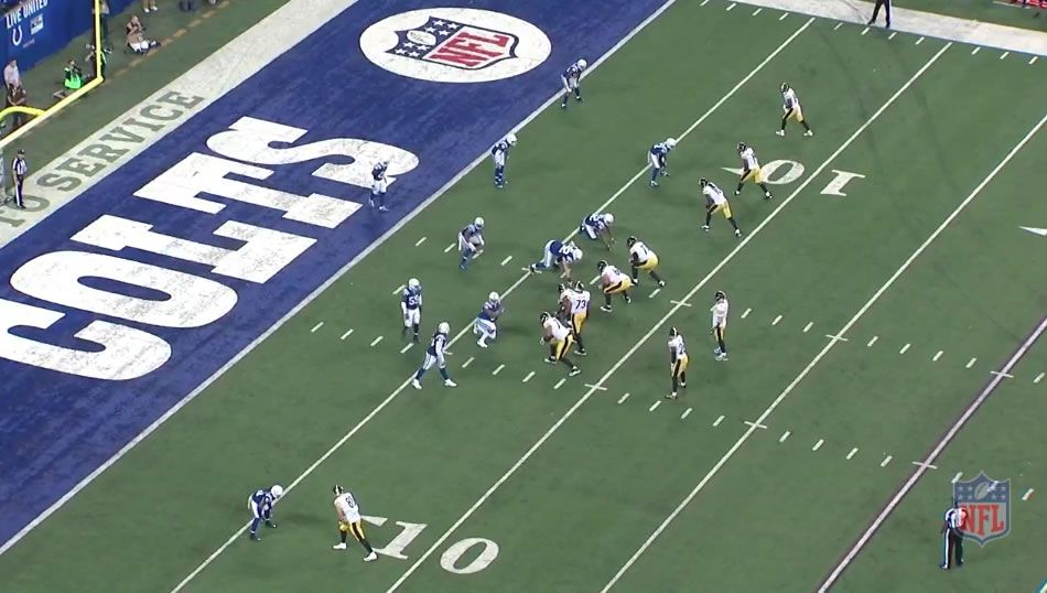 Steelers line up for a two-point conversion against the Colts