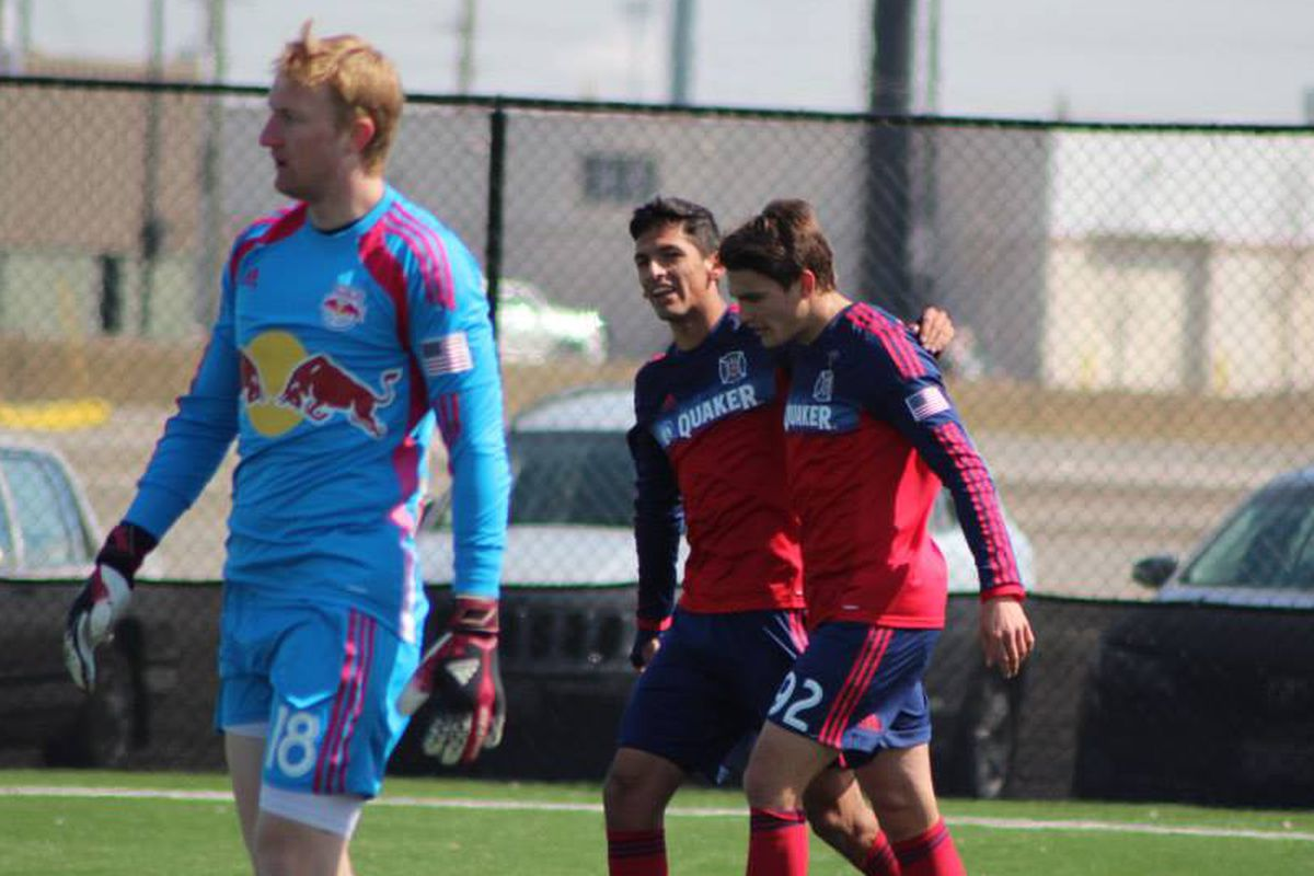 Victor Pineda and Guiseppe Gentile (R) celebrate Gentile's first goal in Monday's reserve game against Red Bulls.
