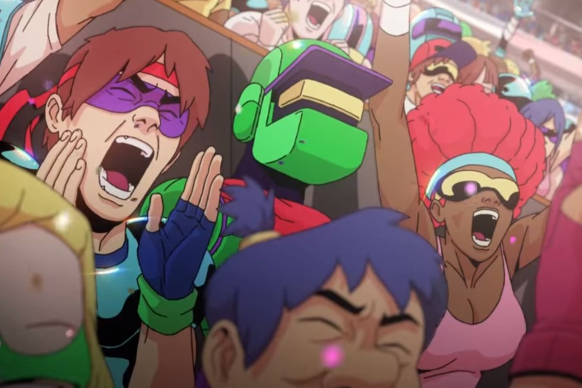cartoon-styled fans cheer on a futuristic frisbee sport in Windjammers 2