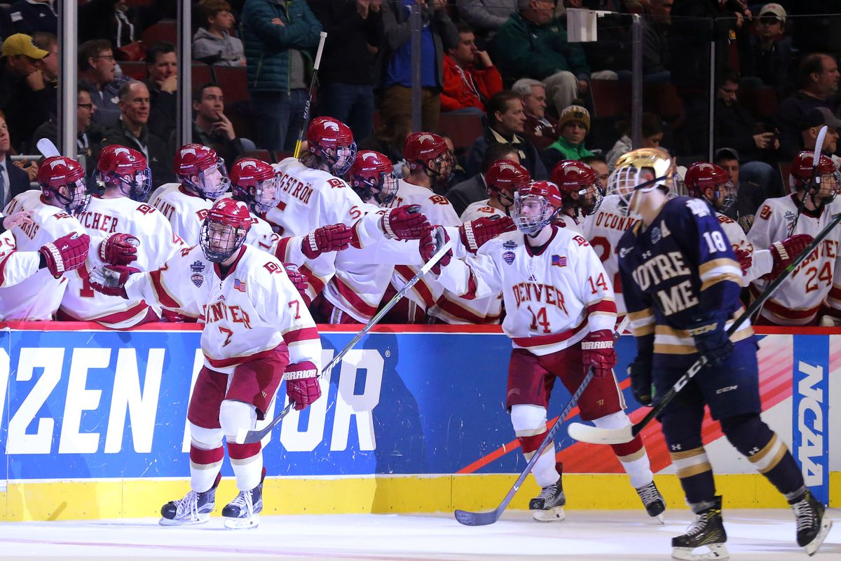Apr 6, 2017; Chicago, IL, USA; Denver Pioneers forward Dylan Gambrell (7) celebrates his goal with the bench during the second period of play against the Notre Dame Fighting Irish at United Center.