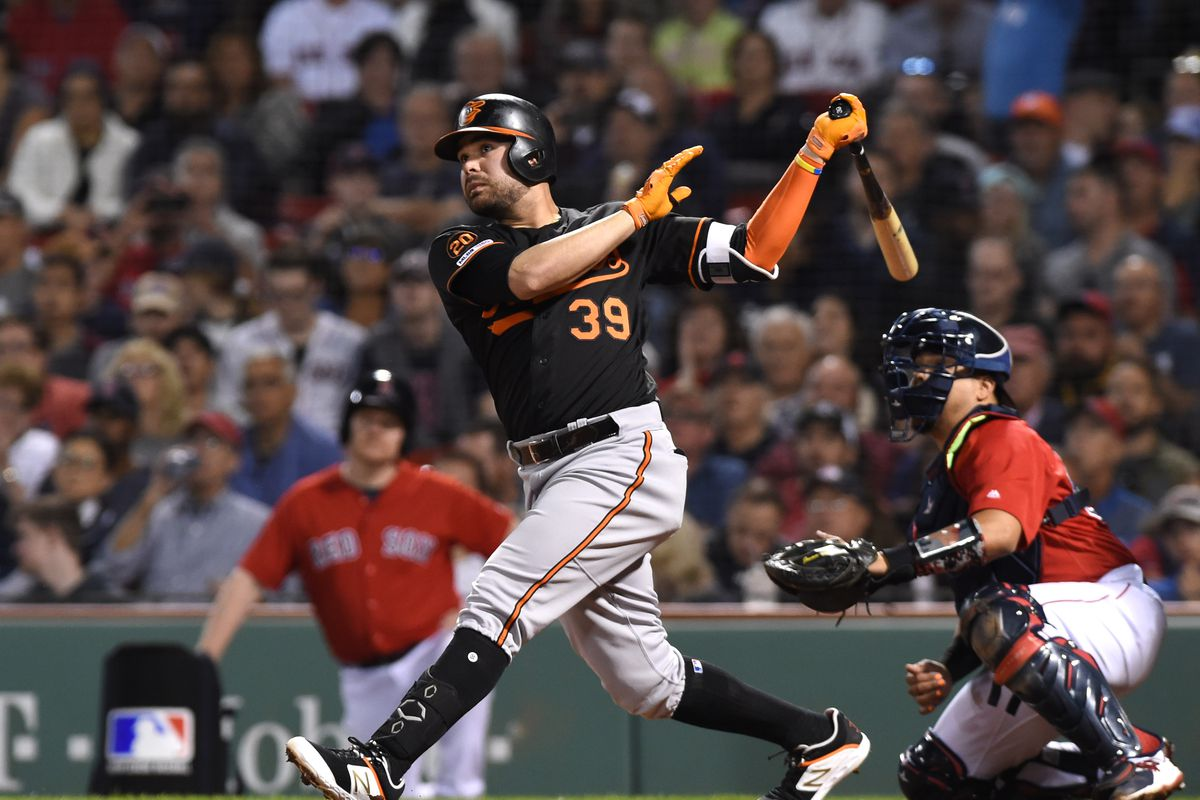 Baltimore Orioles designated hitter Renato Nunez hits a three run home run during the third inning against the Boston Red Sox at Fenway Park.