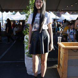 Festivalgoer Stella Kim channeled the '90s with a black tattoo choker.