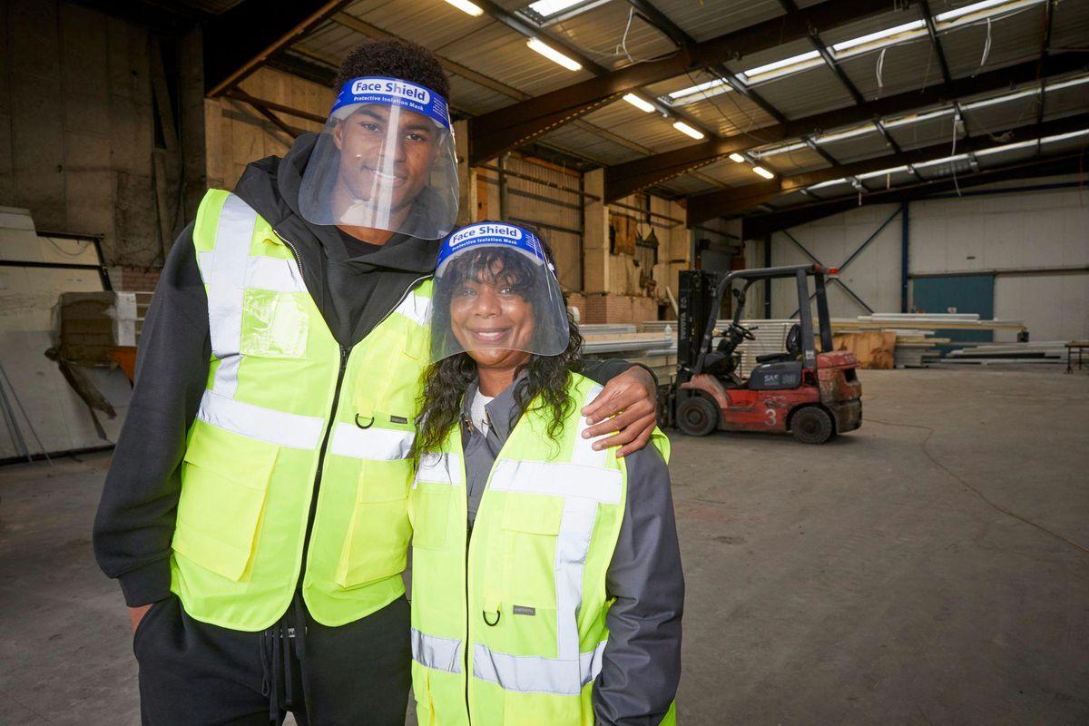 Marcus Rashford and his mum, Melanie at FareShare's Greater Manchester centre