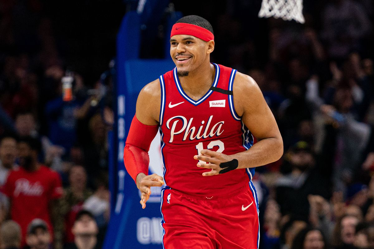 Philadelphia 76ers forward Tobias Harris reacts to his three point score against the Brooklyn Nets during the fourth quarter at Wells Fargo Center.