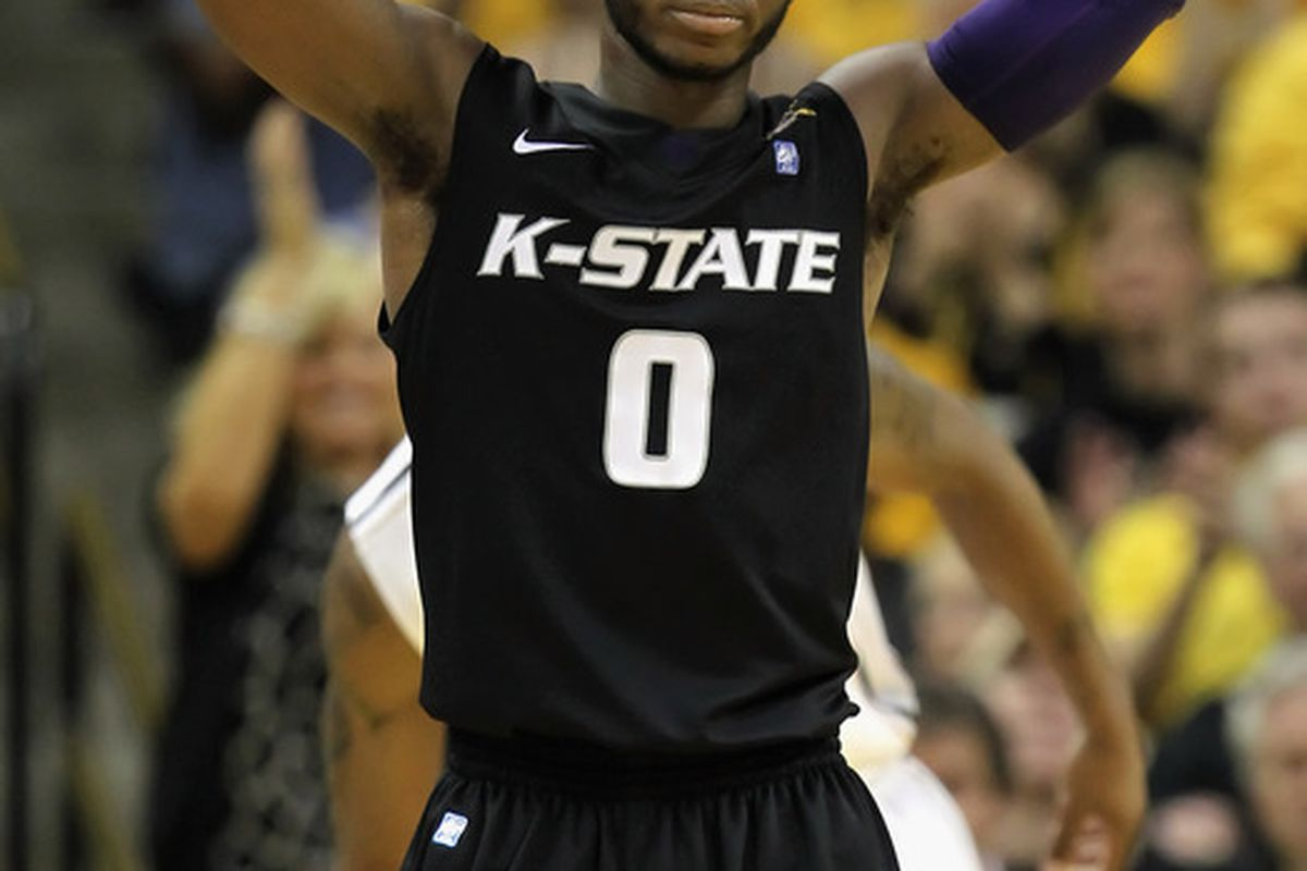 COLUMBIA MO - JANUARY 17:  Jacob Pullen #0 of the Kansas State Wildcats reacts after committing a foul during the game against the Missouri Tigers on January 17 2011 at Mizzou Arena in Columbia Missouri.  (Photo by Jamie Squire/Getty Images)