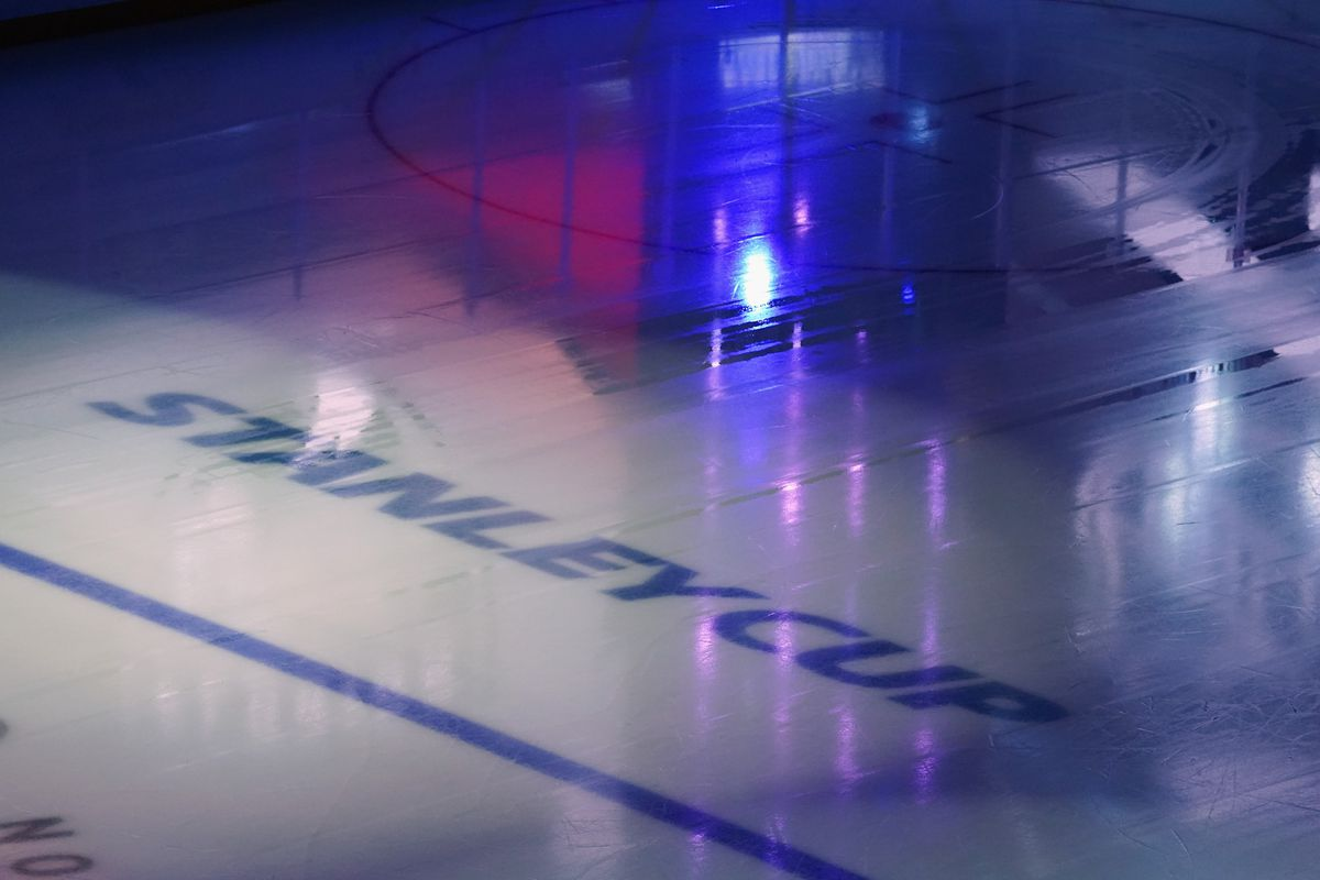 A general view of the in ice logos prior to the exhibition game between the Colorado Avalanche and the Minnesota Wild before the 2020 NHL Stanley Cup Playoffs at Scotiabank Arena on July 29, 2020 in Toronto, Ontario, Canada.