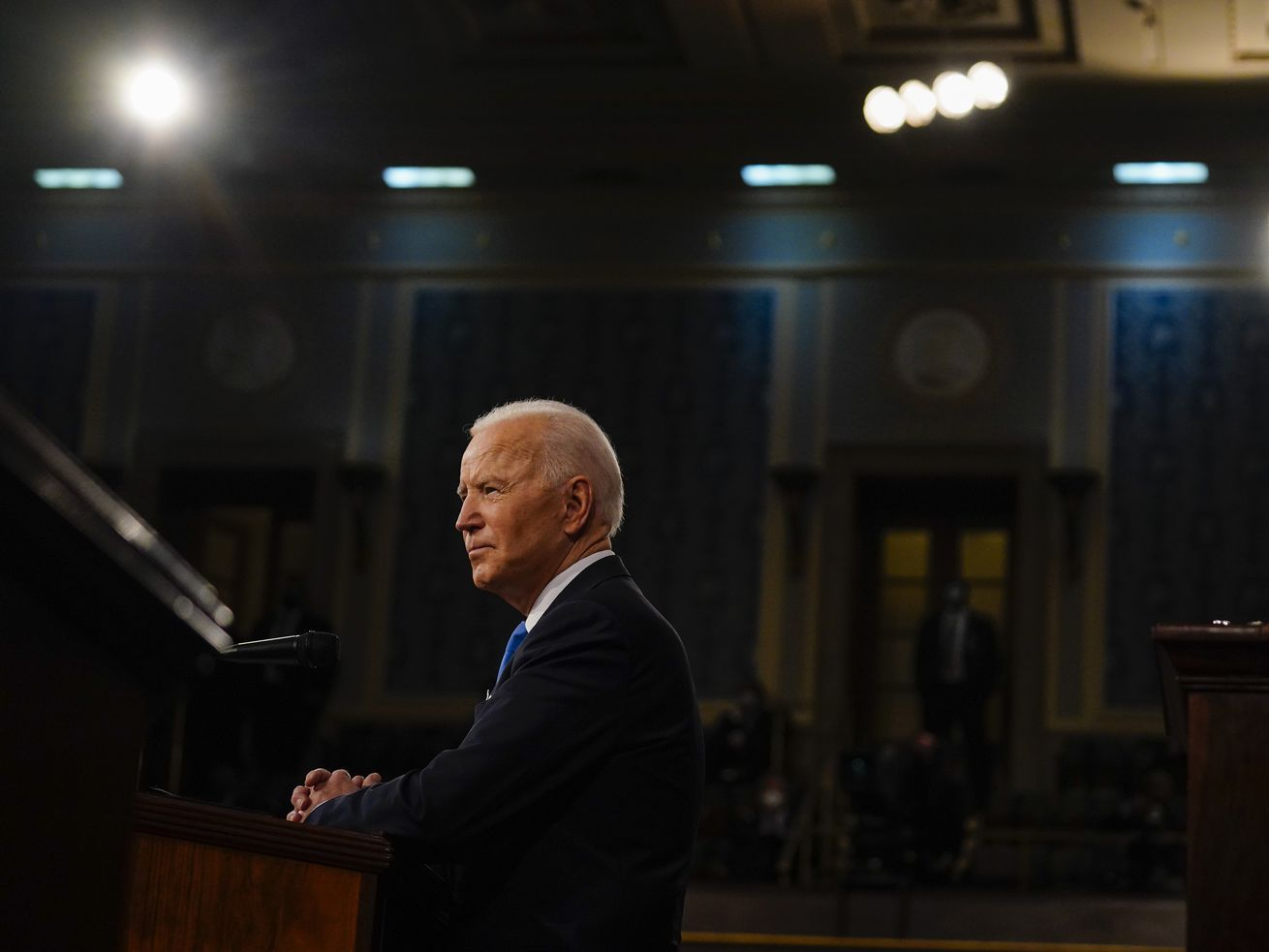 President Joe Biden speaks to a joint session of Congress on April 28, 2021, in Washington, DC.