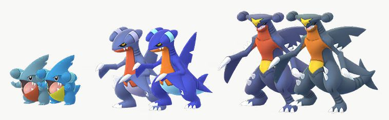 Shiny Gible, Gabite, and Garchomp with their regular forms in Pokémon Go